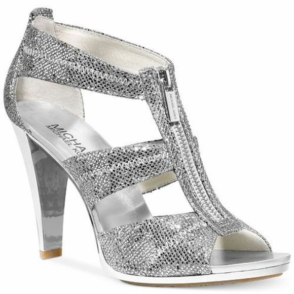 Michael Kors Silver Sparkly Berkley T-Strap Shoes